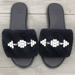 Tory Burch fluffy sandals black sheep bling size 7.5